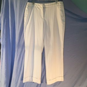NY & Co Off White with Brown Pinstriped Pants